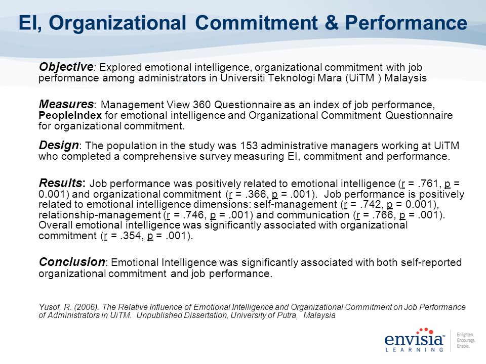 affective organizational commitment survey essay Affective commitment: affective commitment is defined as emotional attachment, intention to stay and continue job in organization (meyer & allen, 1991) continuance commitment: it is based on the costs of intention to turnover.