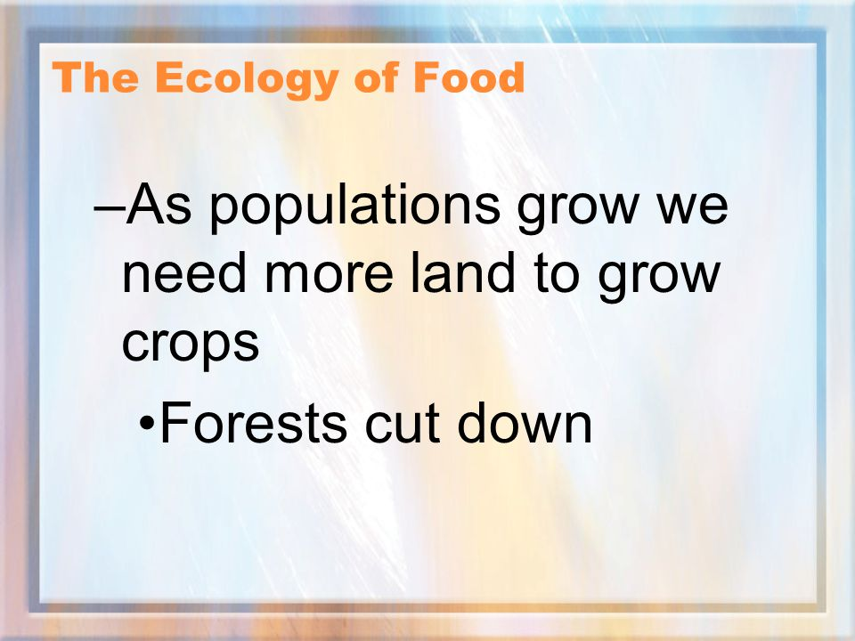 As populations grow we need more land to grow crops