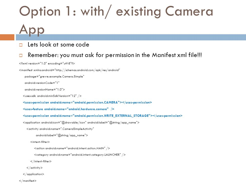 Android – Camera –an Example - ppt download