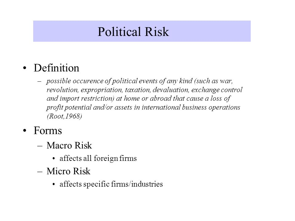 what is political risk in international business