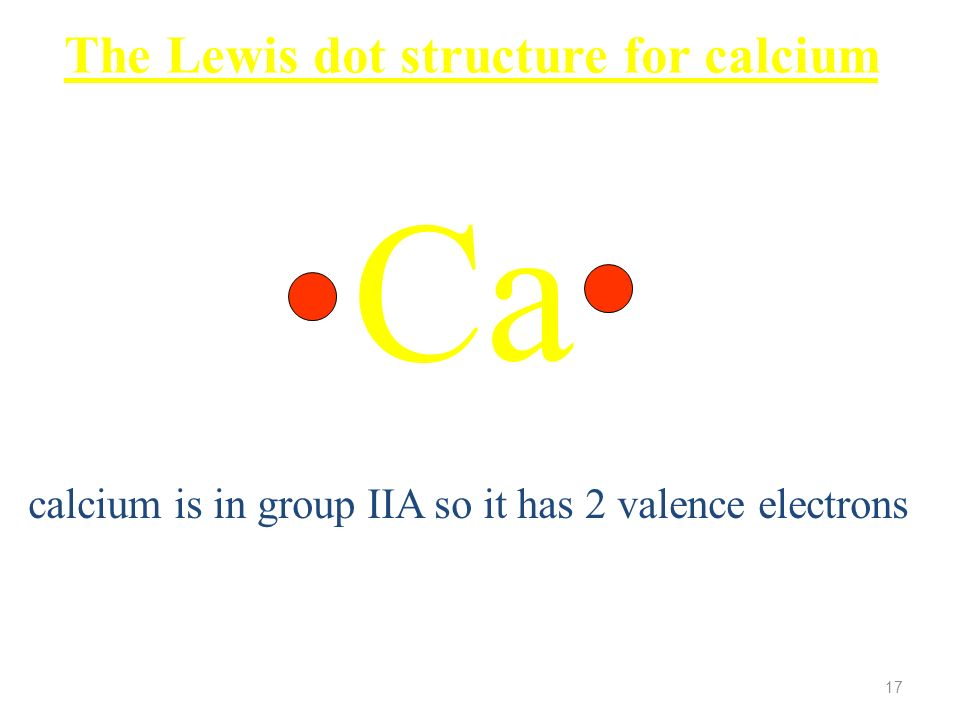 Ca The Lewis dot structure for calcium