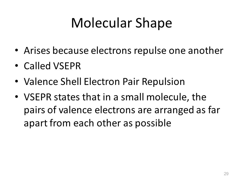 Molecular Shape Arises because electrons repulse one another