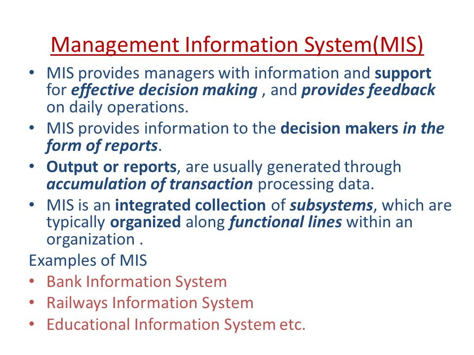 Management Information System Mis Ppt Download