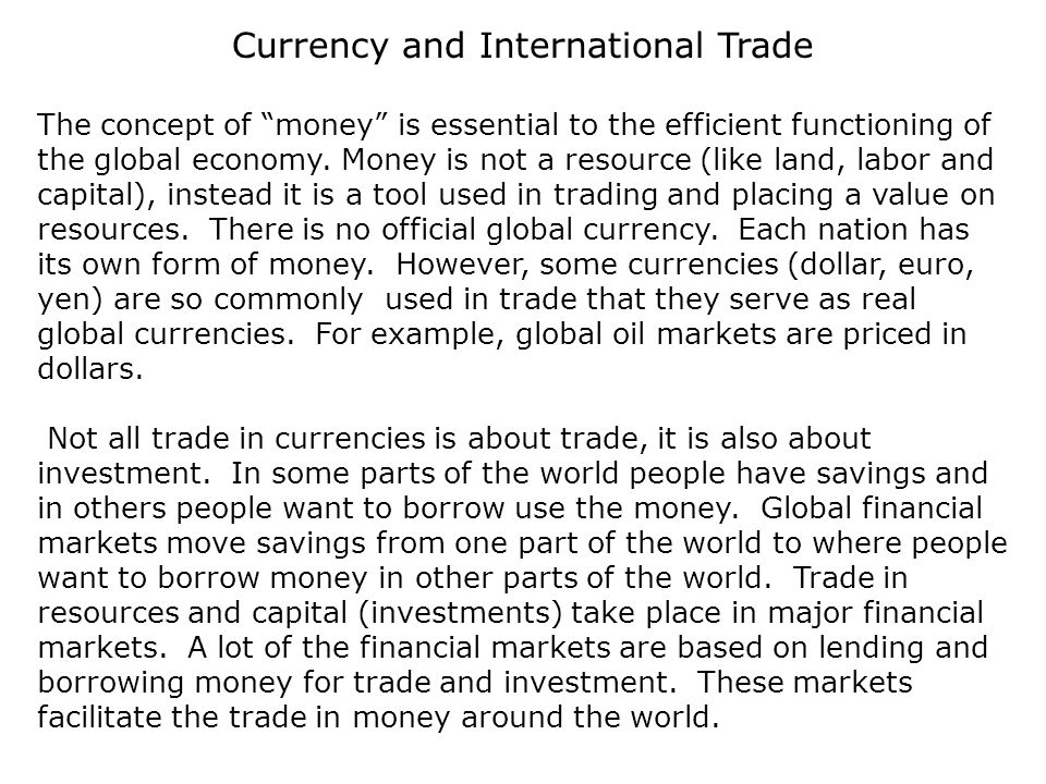 Currency And International Trade