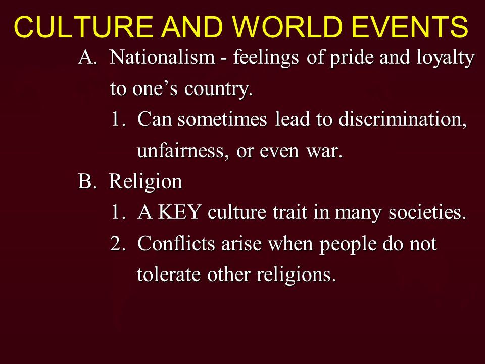 CULTURE AND WORLD EVENTS