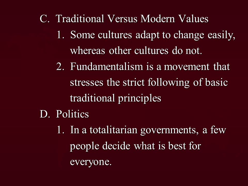 C. Traditional Versus Modern Values