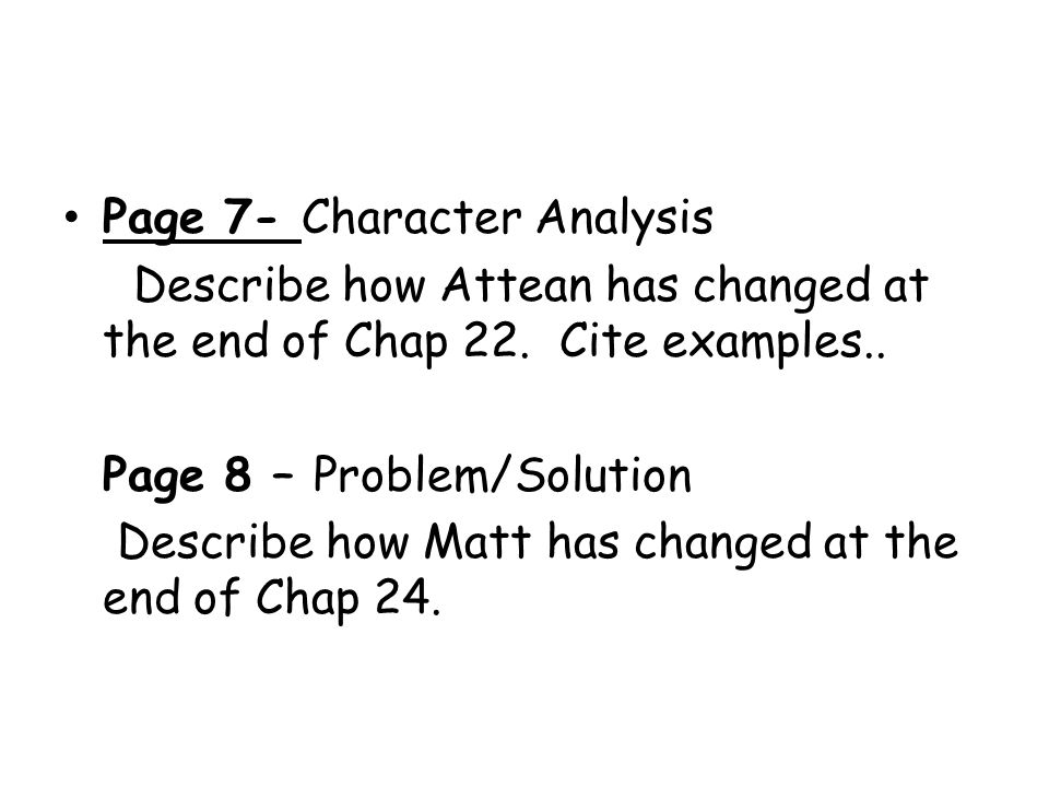 Page 7- Character Analysis