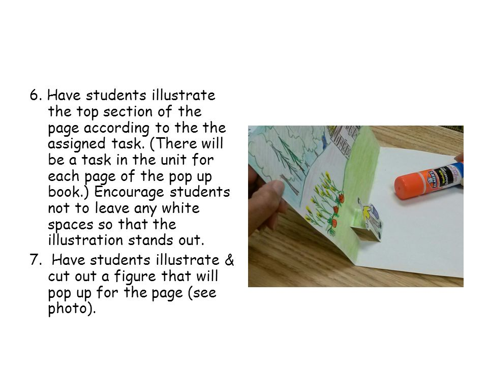6. Have students illustrate the top section of the page according to the the assigned task.