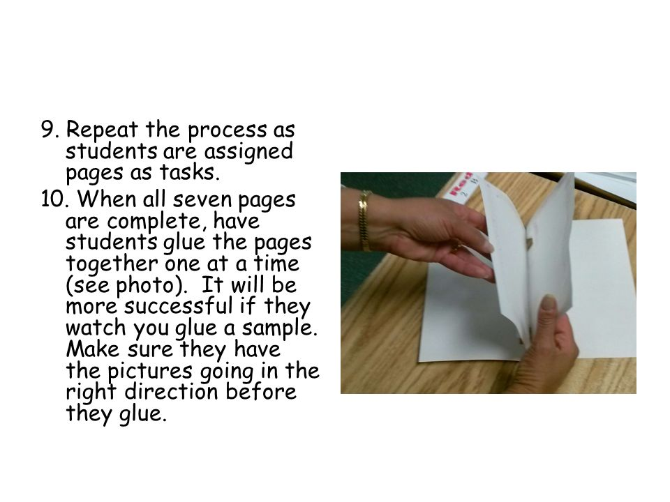 9. Repeat the process as students are assigned pages as tasks. 10