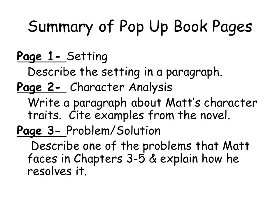Summary of Pop Up Book Pages