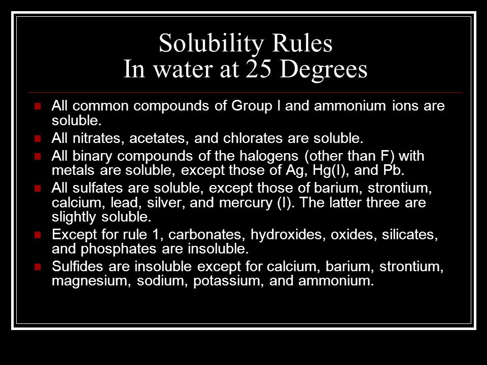 Solubility Rules In water at 25 Degrees
