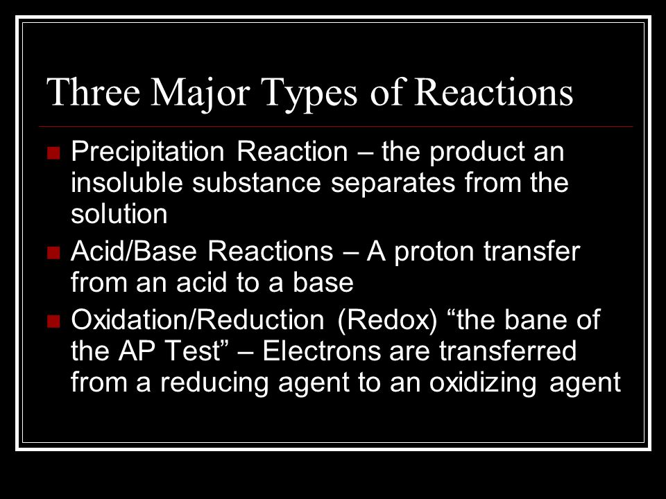 Three Major Types of Reactions