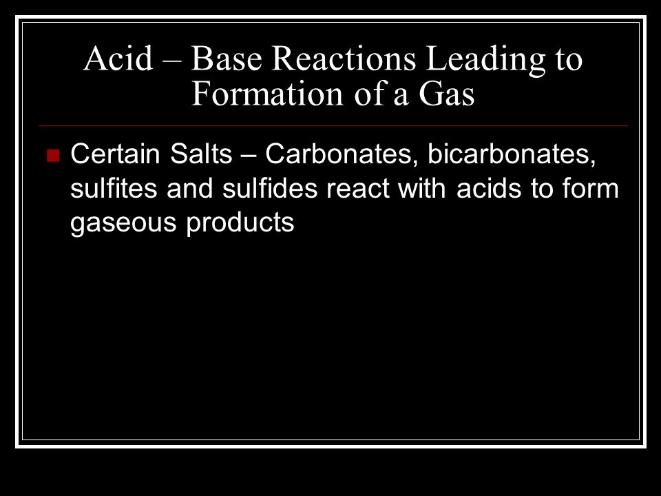 Acid – Base Reactions Leading to Formation of a Gas
