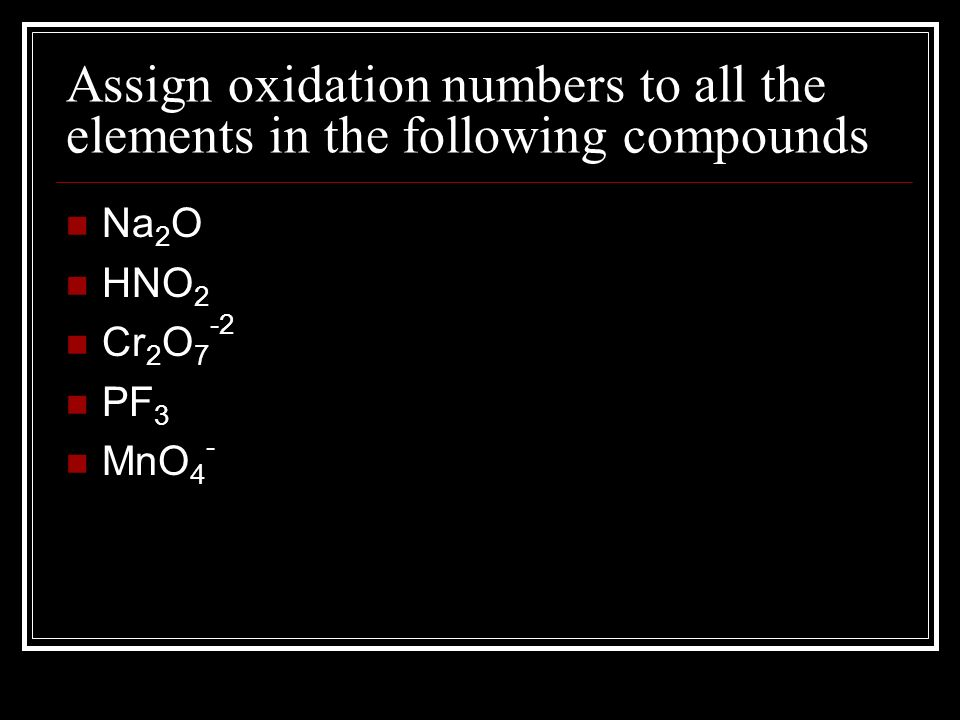 Assign oxidation numbers to all the elements in the following compounds