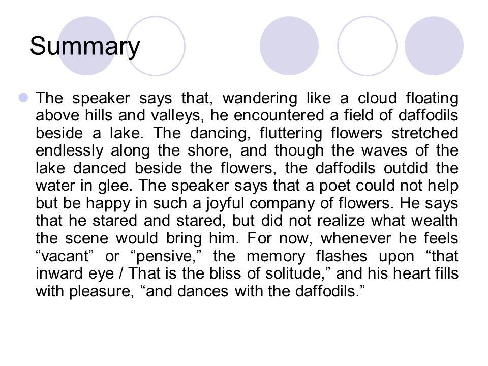 summary of daffodils written by william wordsworth
