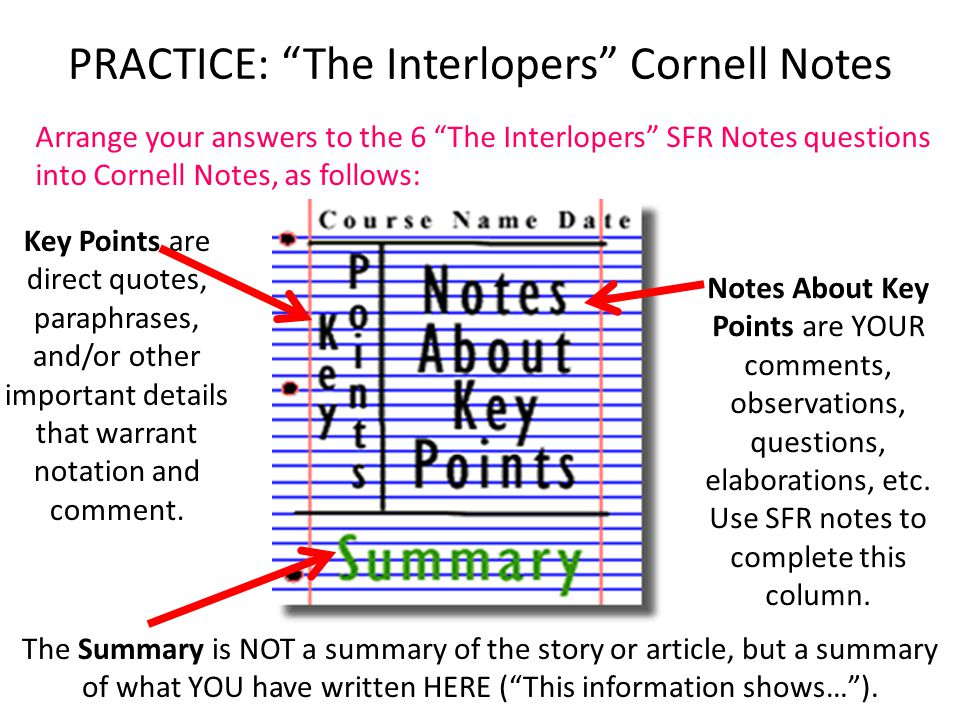 PRACTICE: The Interlopers Cornell Notes
