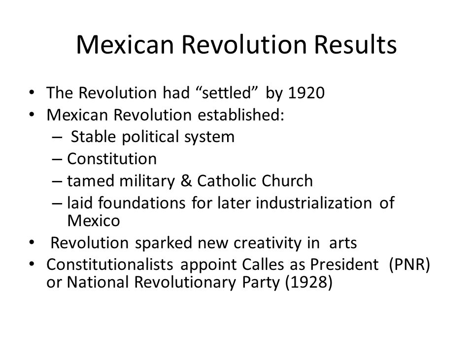 what were the results of the mexican revolution