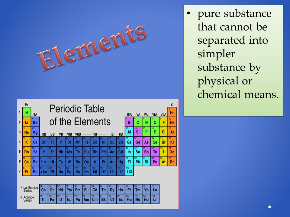 pure substance that cannot be separated into simpler substance by physical or chemical means.