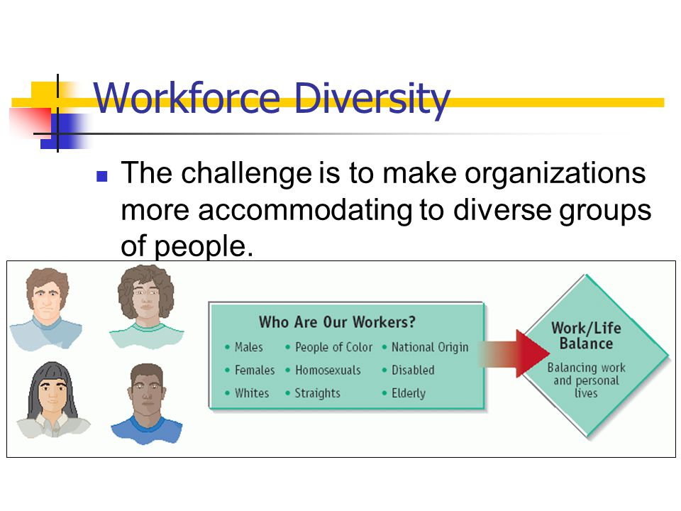 Workforce Diversity The challenge is to make organizations more accommodating to diverse groups of people.