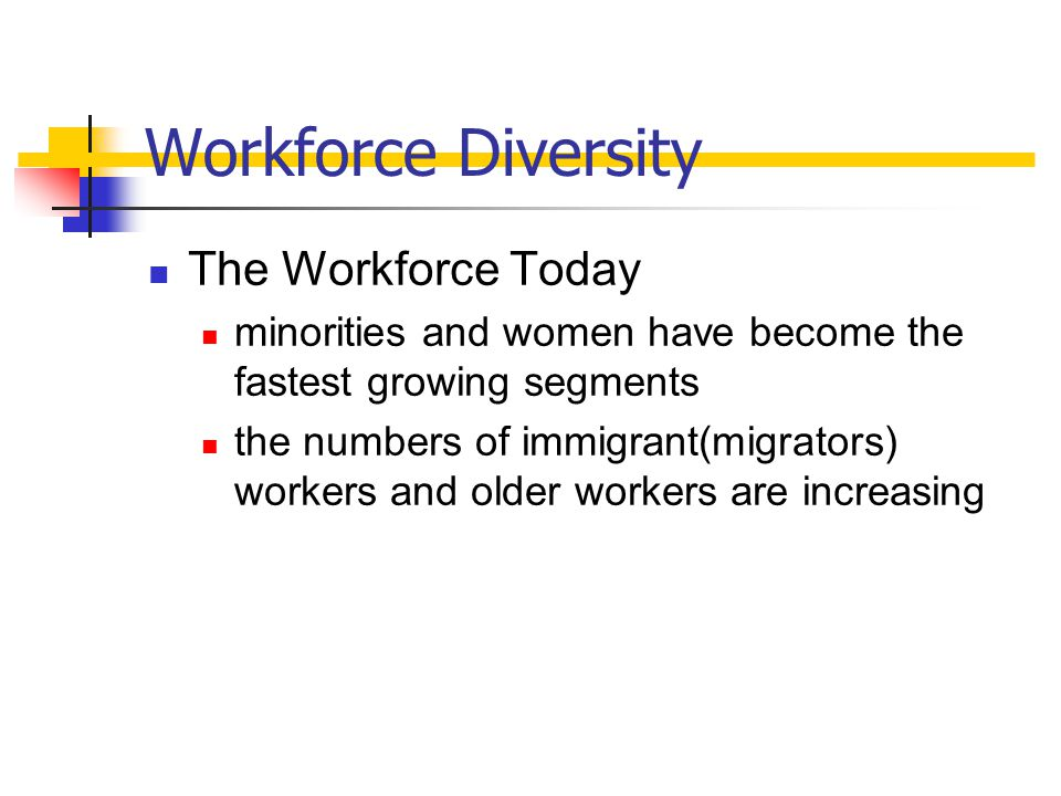 Workforce Diversity The Workforce Today