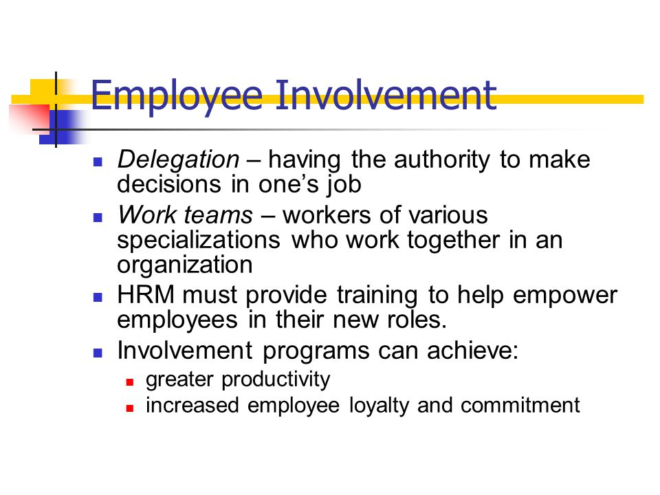 Employee Involvement Delegation – having the authority to make decisions in one's job.
