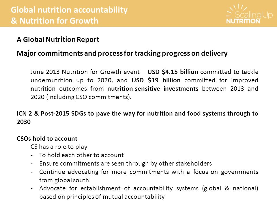 Scaling Up Nutrition Civil Society Network (SUN CSN) - ppt