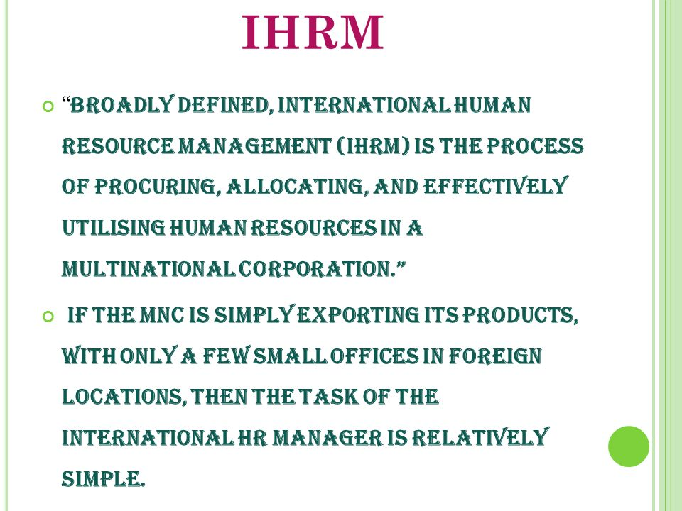 ihrm meaning