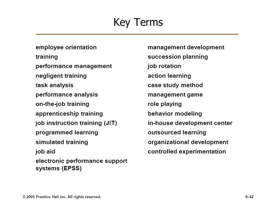 Key Terms employee orientation training performance management