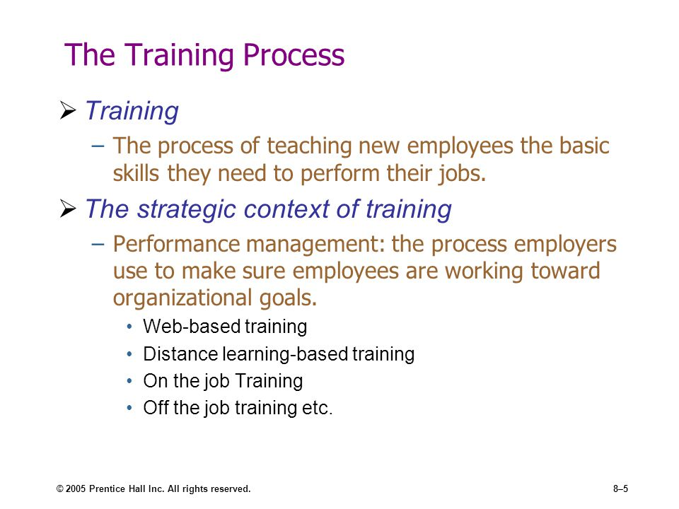 The Training Process Training The strategic context of training