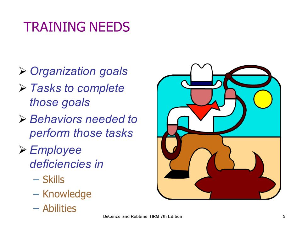 TRAINING NEEDS Organization goals Tasks to complete those goals
