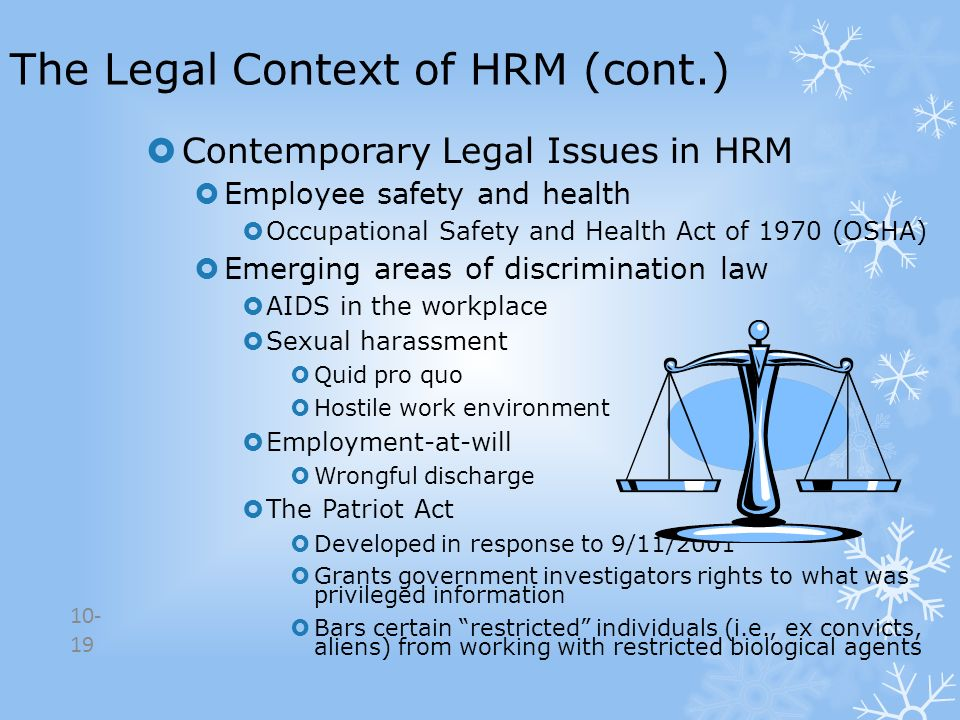 The Legal Context of HRM (cont.)