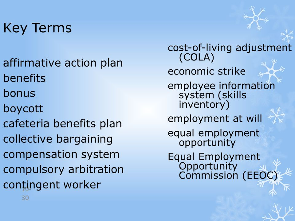 Key Terms affirmative action plan benefits bonus boycott