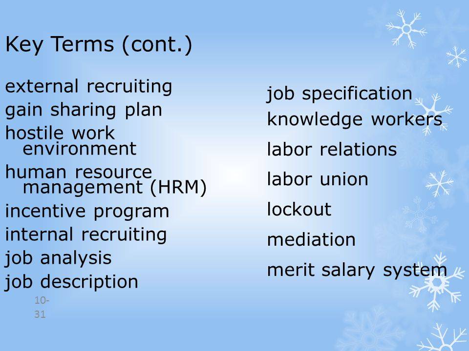 Key Terms (cont.) external recruiting job specification