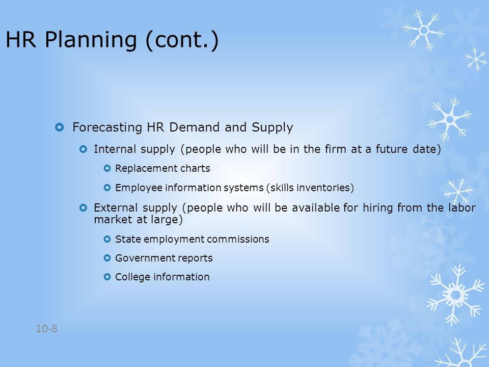 HR Planning (cont.) Forecasting HR Demand and Supply