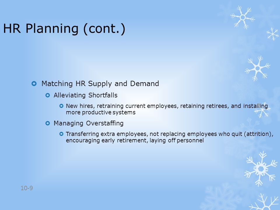 HR Planning (cont.) Matching HR Supply and Demand