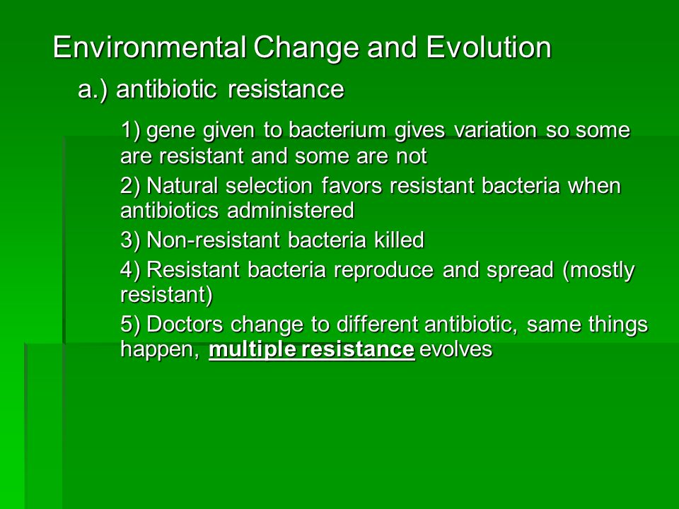 Environmental Change and Evolution a.) antibiotic resistance