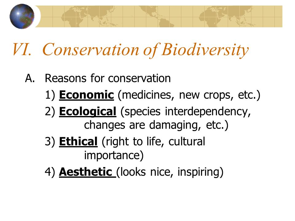 VI. Conservation of Biodiversity