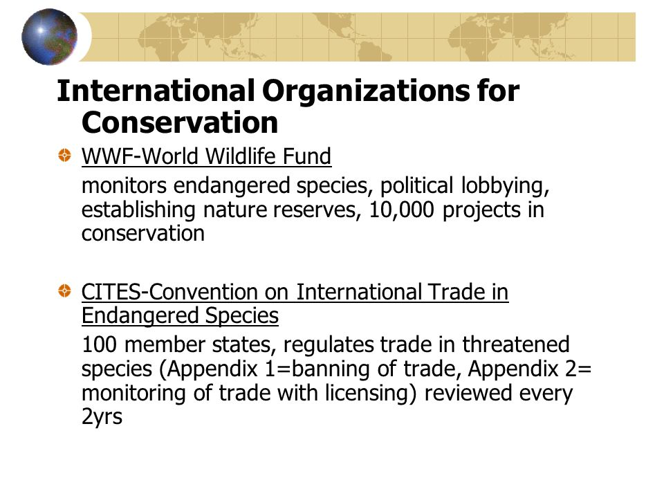 International Organizations for Conservation