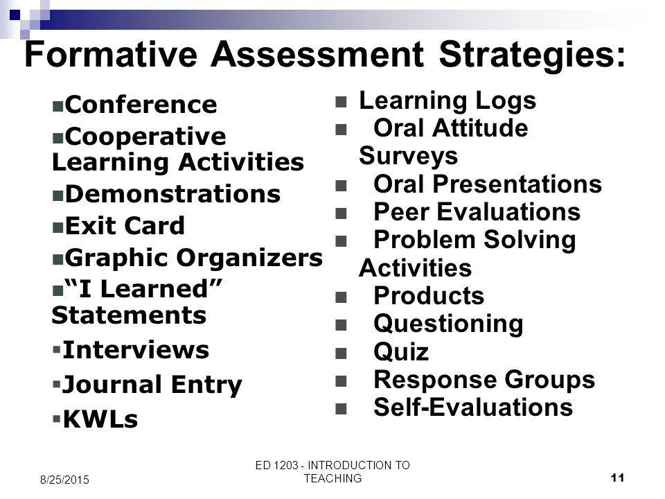 Formative Assessment Strategies: