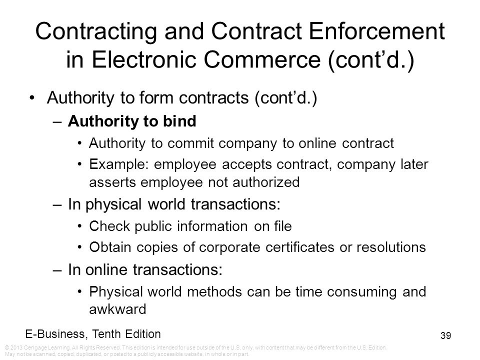 EBusiness Tenth Edition Ppt Download - Online contract example