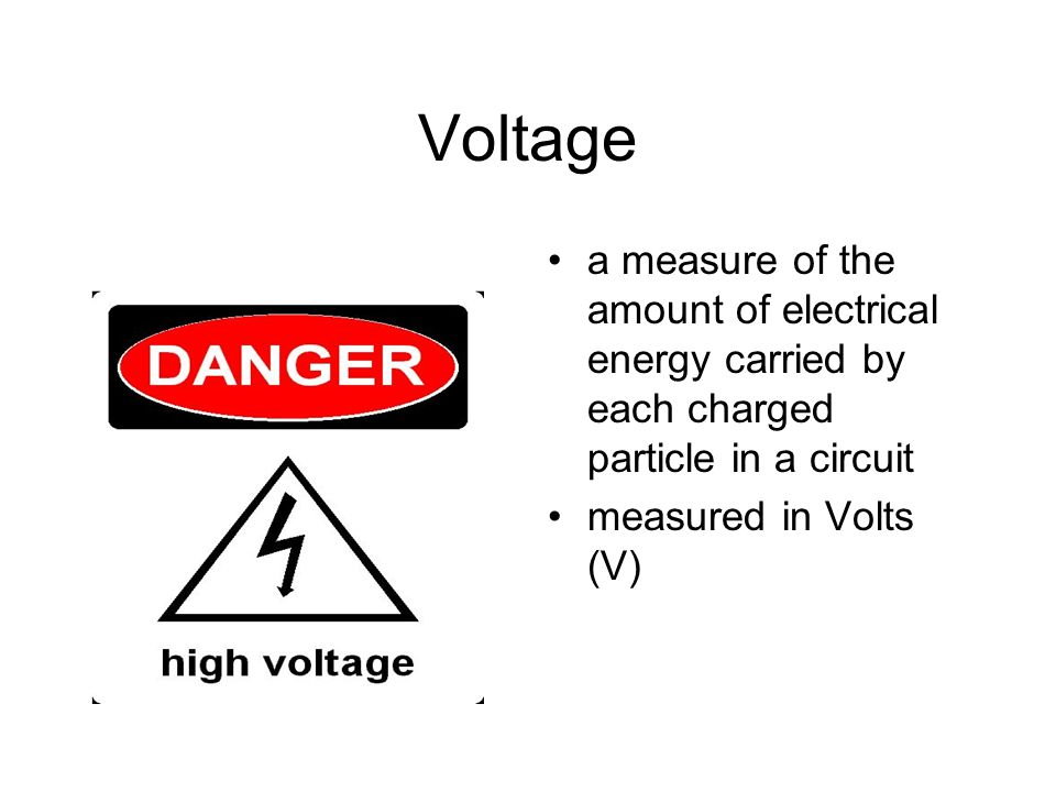 Voltage a measure of the amount of electrical energy carried by each charged particle in a circuit.