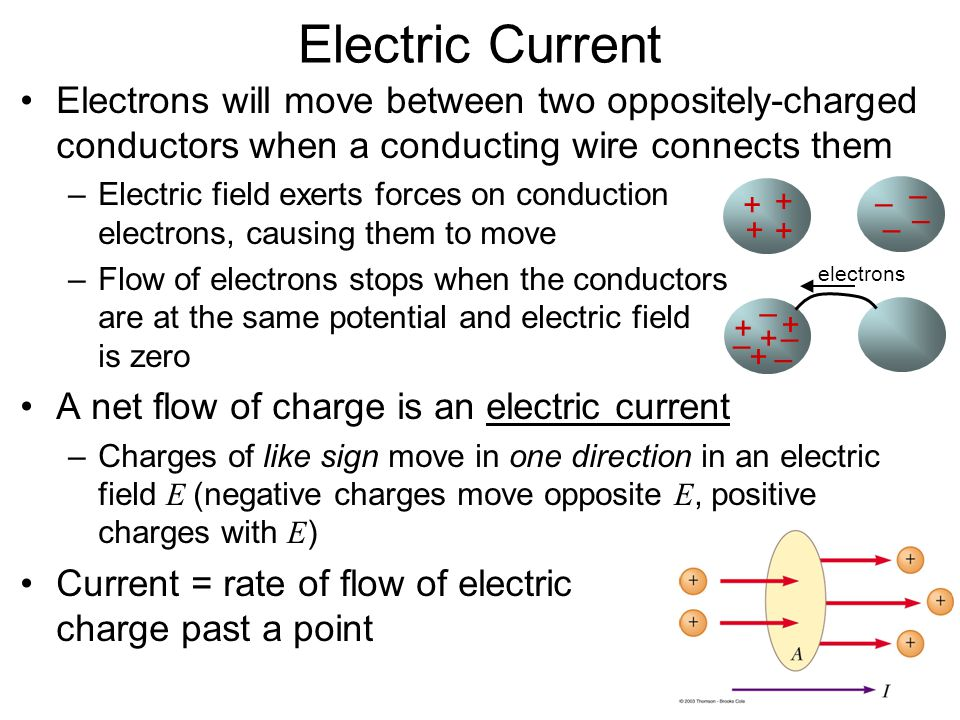 Electric Current Electrons will move between two oppositely-charged ...