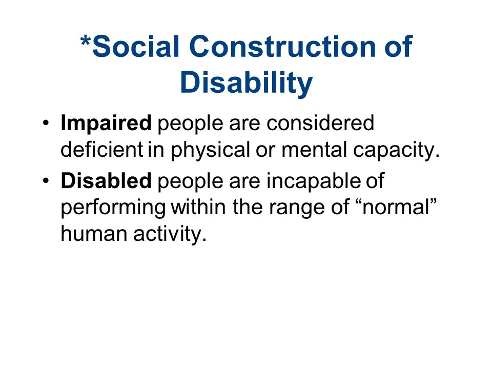 social construction of disability