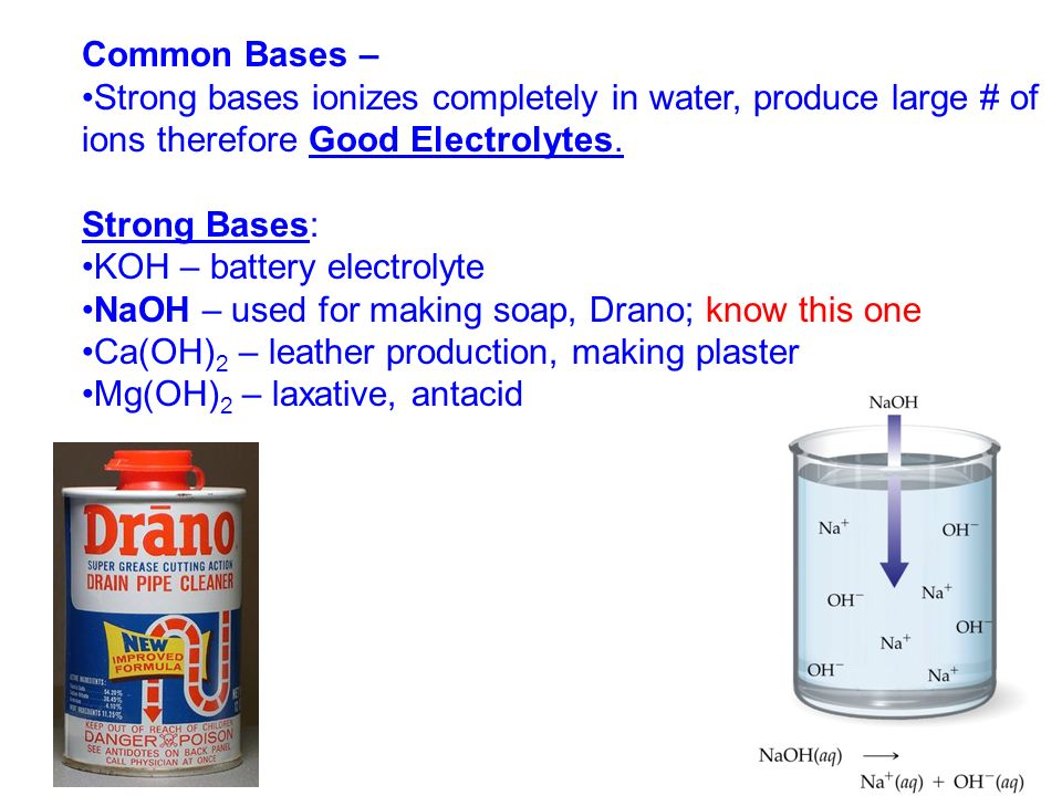 Common Bases – Strong bases ionizes completely in water, produce large # of ions therefore Good Electrolytes.