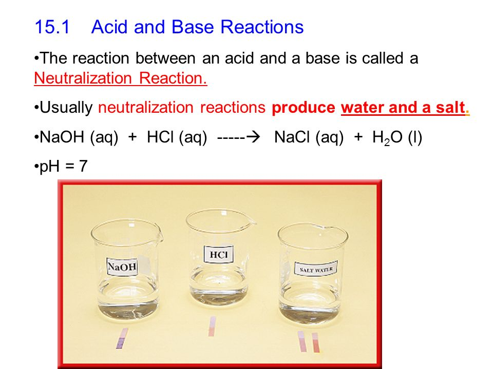 15.1 Acid and Base Reactions