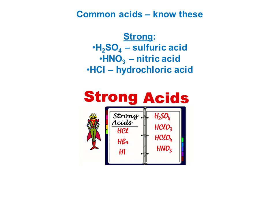 Common acids – know these Strong: H2SO4 – sulfuric acid