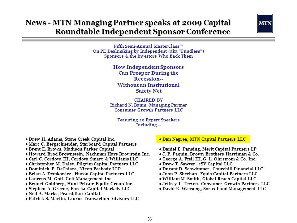 MTN Capital Partners LLC - ppt download