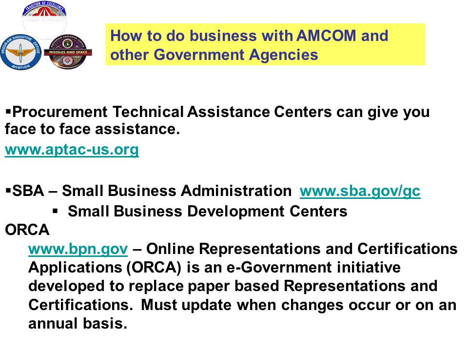 How to do business with AMCOM and other Government Agencies