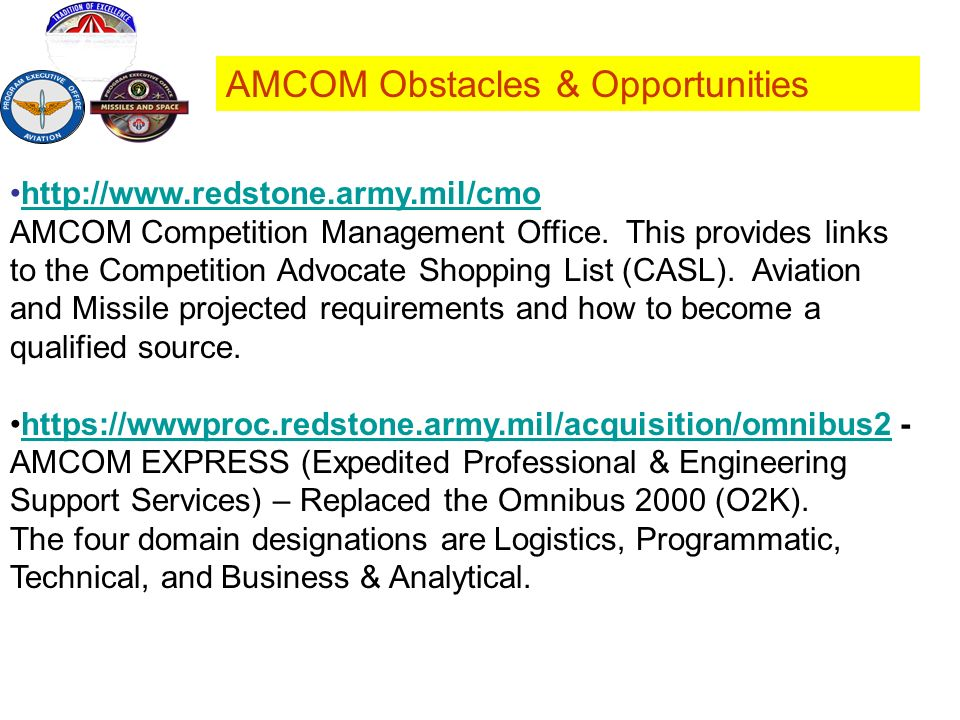 AMCOM Obstacles & Opportunities