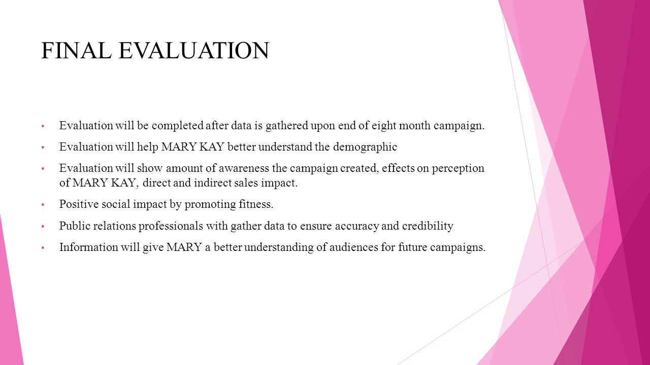 FINAL EVALUATION Evaluation will be completed after data is gathered upon end of eight month campaign.
